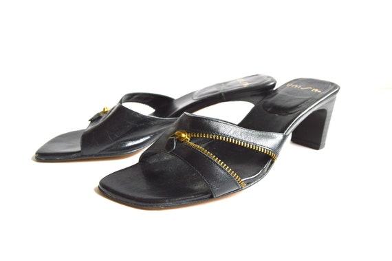 c31ace805e2 Vintage Black Leather Sandals Women s Leather Lined Slip