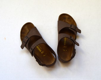 Birkenstock Brown Two Strap Sandals Summer Shoes Platform Slides Size 34 US 3 - 3.5