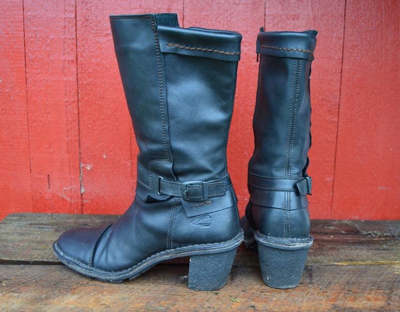 8b52236fa1aef6 Leder Stiefel Vintage 90er Jahre schwarz Leder Womans Stiefel