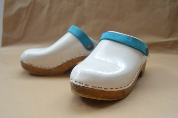 Vintage Clogs 90s Wooden Girls Clogs White Leather Slip On | Etsy
