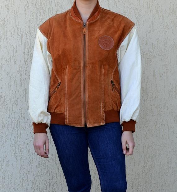 Leather Bomber Jacket Men Leather Varsity Bomber J