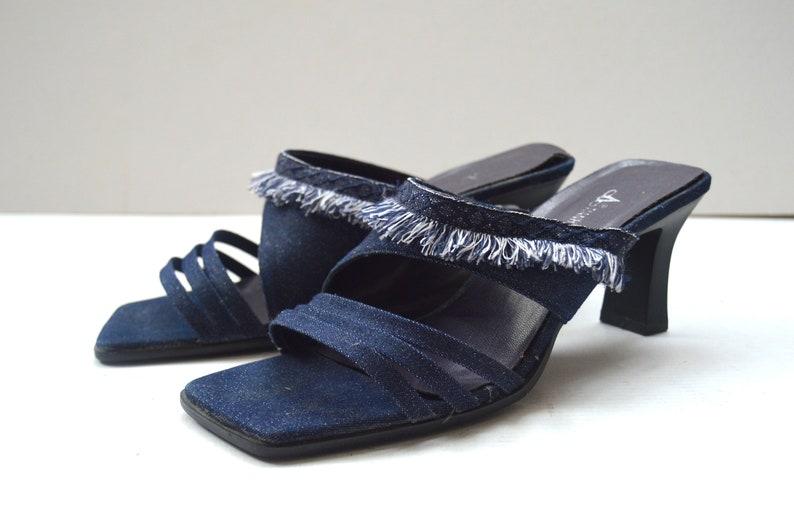 e2a1e03b783e7 Vintage Denim Mules Jean Shoes Strappy Denim Mules Slides Strappy Sandals  Vegan Open Toe Sandals Denim Slippers size 39 EUR 6 UK