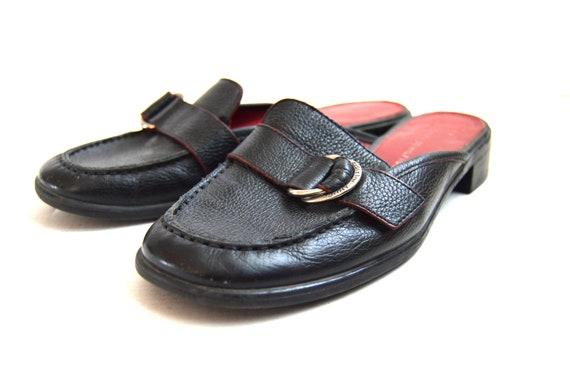 Black Leather mules Tommy Hilfiger minimalist mule