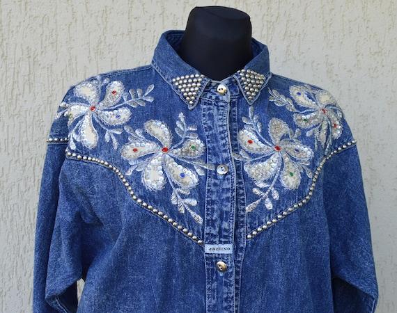Vintage 80's Denim Dress Jazzino Western Denim Emb