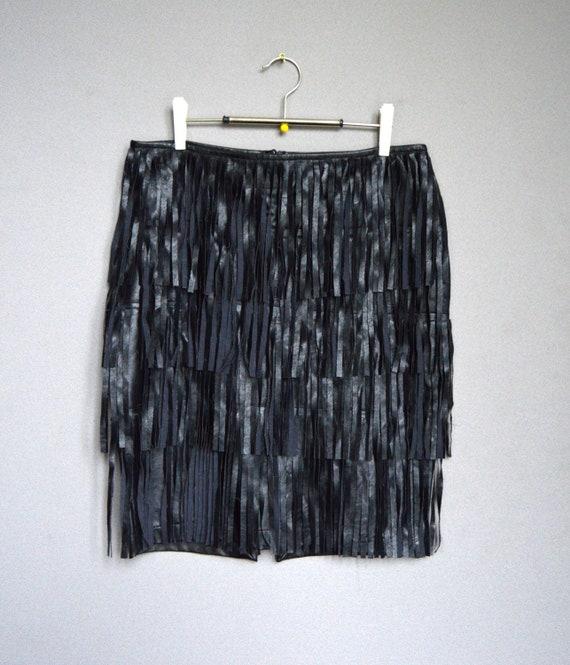 7756f63636 Vintage black fringe skirt fringe mini skirt vegan Leather | Etsy