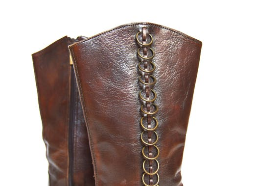 boots UK goth Vintage Boots Goth Brown 5 Womens heels Spike Side Size 36 EU US Leather Boots Boho Zipper Pointy Hipster toe 3 pYTxg0Yw