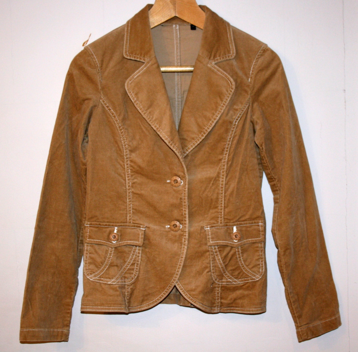 Brown Corduroy Cropped Jacket Fitted Womens Light Brown ...