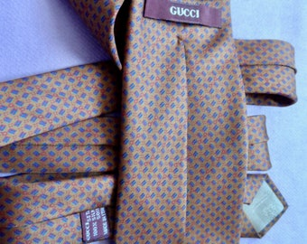 b90119b0026d Vintage Gucci tie with logos. Bronze colour. Pure silk made in Italy.