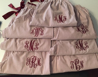 8,9 or 10 Pairs of Monogrammed Seersucker Pajama pants - Perfect for Bridesmaid Gifts!