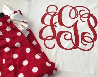Matching Set - Monogrammed Polka Dot Pajama Pants with matching Short Sleeve Tshirt! *LIMITED SUPPLY, please check with me before ordering*