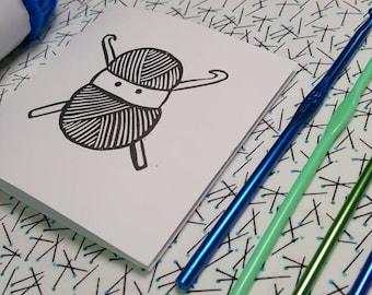 Crochet Ninja - Blank Greetings Card. Hand printed from an original linocut.