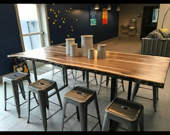 Live Edge Walnut Slab Table W/ Steel Base  SALE