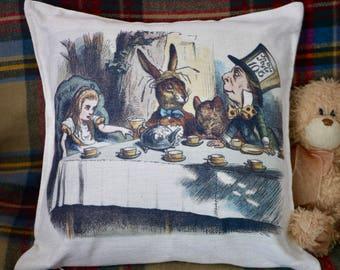 Alice in Wonderland / Mad Hatter's Tea Party Cushion - Kitsch Republic