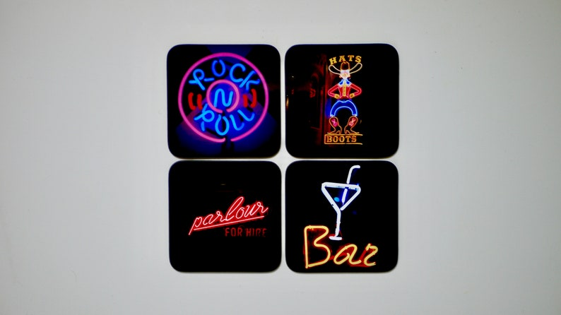 Neon Sign Coasters  Set of 4 Drinks Mats Drinks Coaster image 0