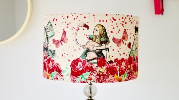 Alice in Wonderland Pink Cream Lampshade Drum Lamp Shade 20cm 25cm 30cm 40cm Mad Hatters Tea Party Table Lamp Pendant Lamp Ceiling Shade