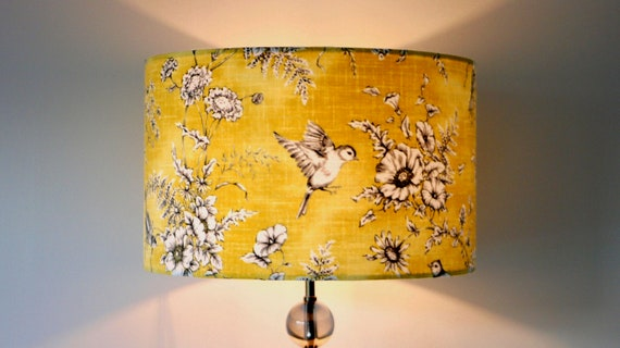 Yellow Bird Lampshade 20cm 25cm 30cm 40cm Drum Lamp shade - Vintage Birds Lamp Shade, Mustard, Handmade Home Decor Ceiling Lamp Table Lamp