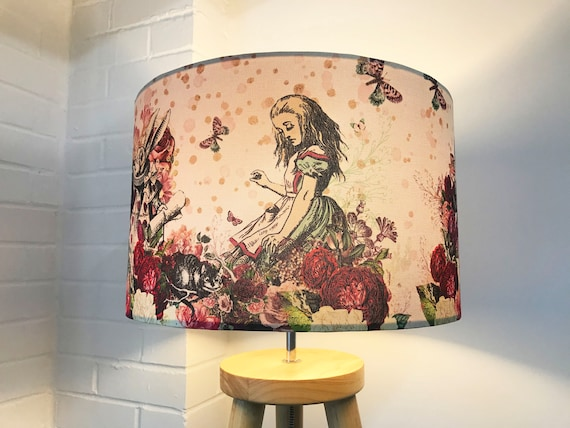 Alice in Wonderland Lampshade - 20cm 25cm 30cm 40cm - Drum Lamp Shade Mad Hatters Tea Party Queen Fantasy Exclusive Kitsch Republic