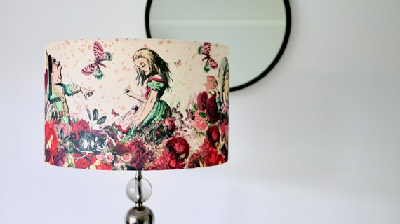 Alice in Wonderland Burgandy Red Lampshade Drum Lamp Shade 20cm 25cm 30cm 40cm Mad Hatters Tea Party Table Lamp Pendant Lamp Ceiling Shade