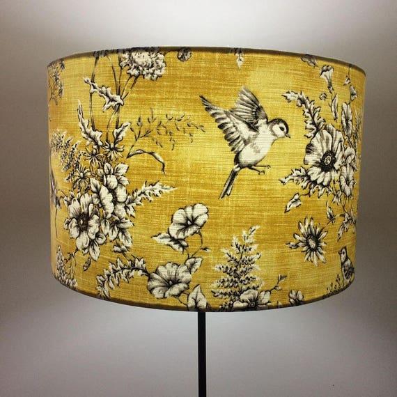 Yellow Bird Lampshade 20cm 25cm 30cm 40cm Drum Lamp shade - Vintage Birds Lamp Shade, Mustard, Handmade Home Decor, Kitsch Republic #20101