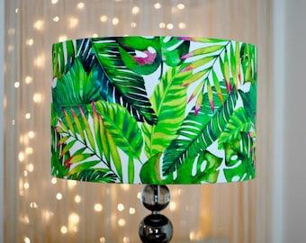 Tropical Leaves Lamp Shade - Handmade Botanical Green Exotic Palms Drum Lampshade 20cm 30cm 40cm Kitsch Republic