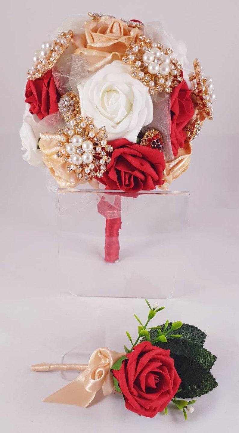 gold brooch bouquet Red wedding bouquet bridesmaid bouquet Red brooch bouquet butterfly red wedding flowers red bridal bouquet
