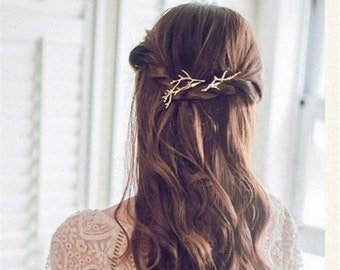 Jewel of golden hair branch brass tree hairstyle woman