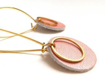 Pop earrings pink leather powder Pearl