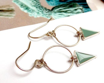 Loops dangling circle triangle green enamel of gray