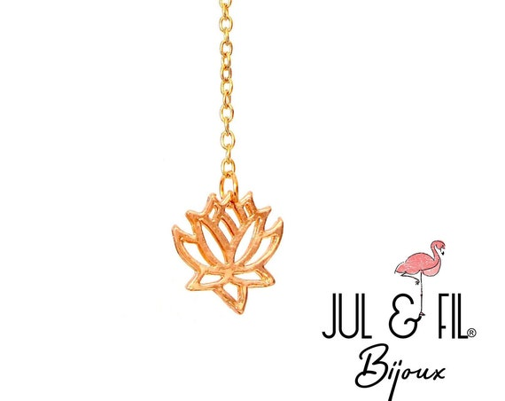 Gold lotus flower and infinity necklace