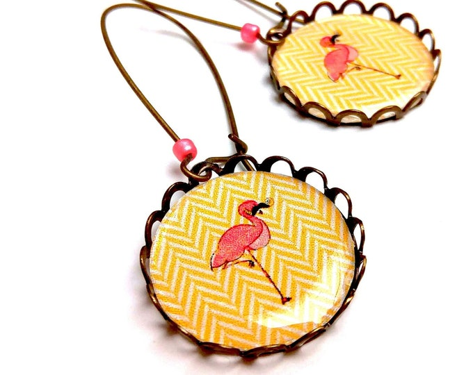 Earrings Flemish moustache on herringbone curry