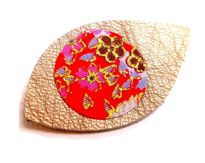 Brooch leather fabric and gold Japanese