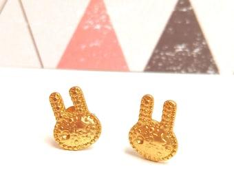 GOOD PLAN Chips Hammered Golden Brass Rabbits
