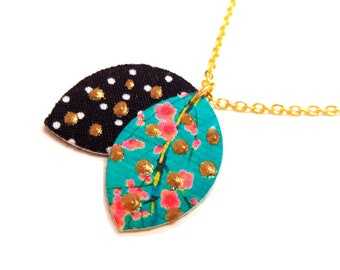 Gold plated necklace 18K Japanese cotton organic printed gold dots