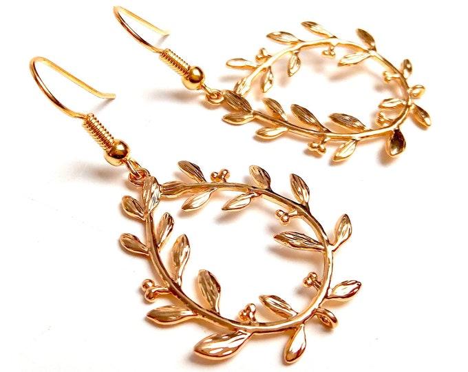 Earrings gold filled branch leaf 14K olive