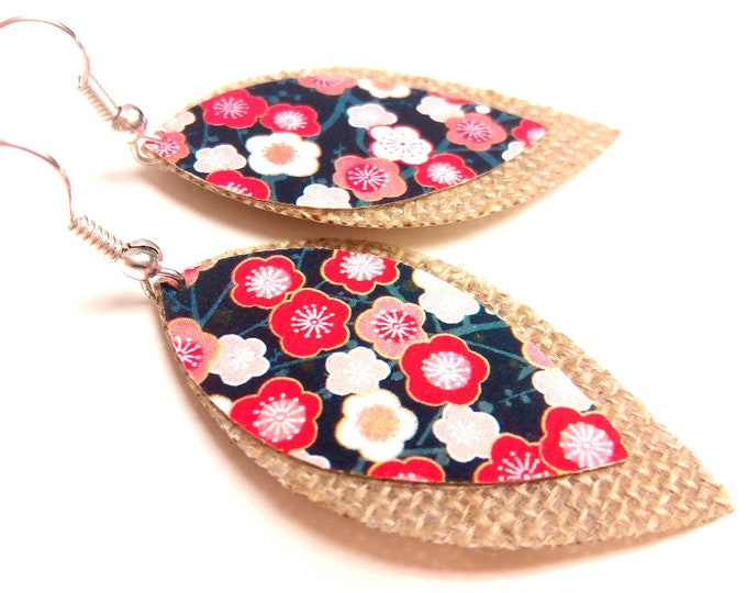 Stud Earrings Japanese flowers on linen