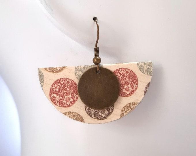 Geometric earrings half-moon Japanese paper gift woman original costume jewel