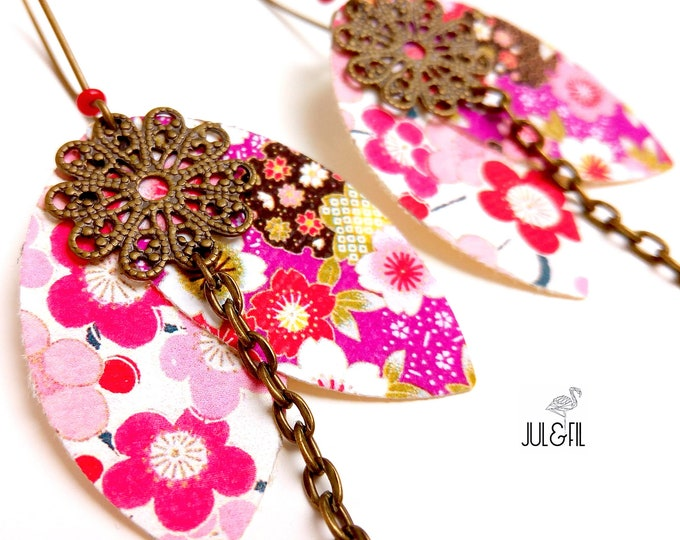 Asian earrings Akemi shuttles Japanese fabric petals, brass stamp
