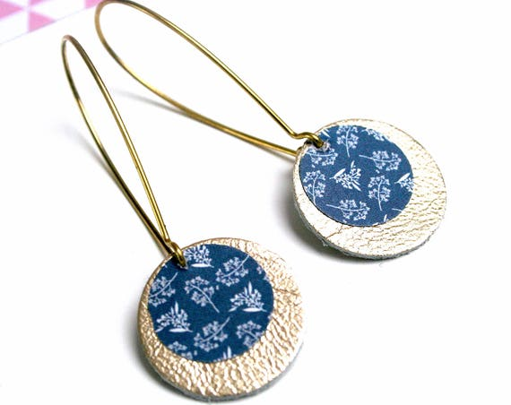 Gold leather, dark blue floral earrings
