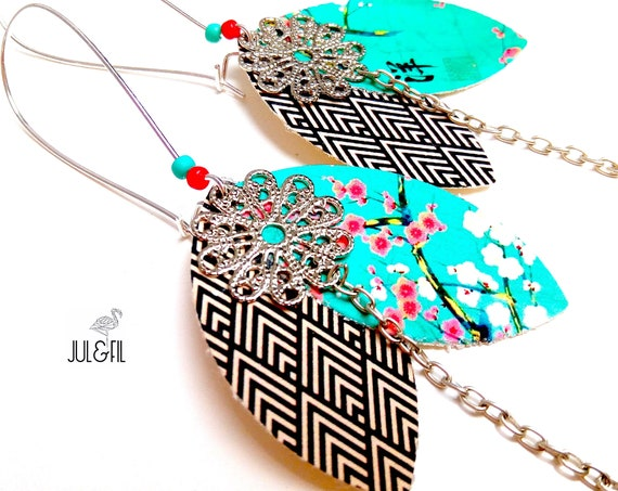 Earrings Asian petals Akemi, Japanese fabric, brass stamp