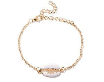 Bracelet shell cauri brass jewel costume woman