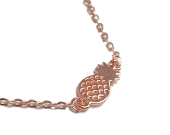 Fine pineapple pink gold bracelet