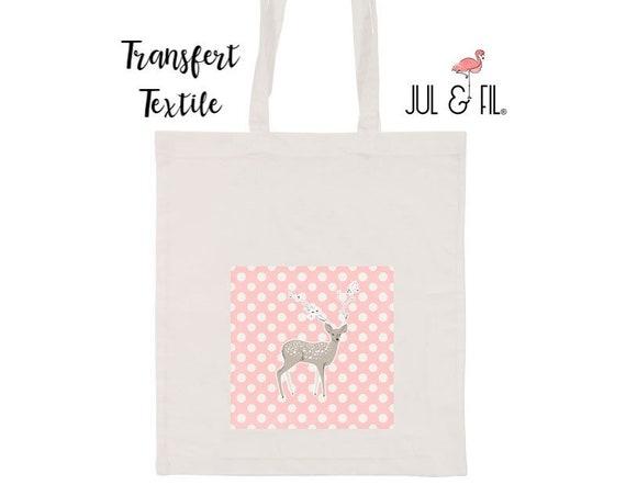 Textile transfer iron deer on white polka dots pink