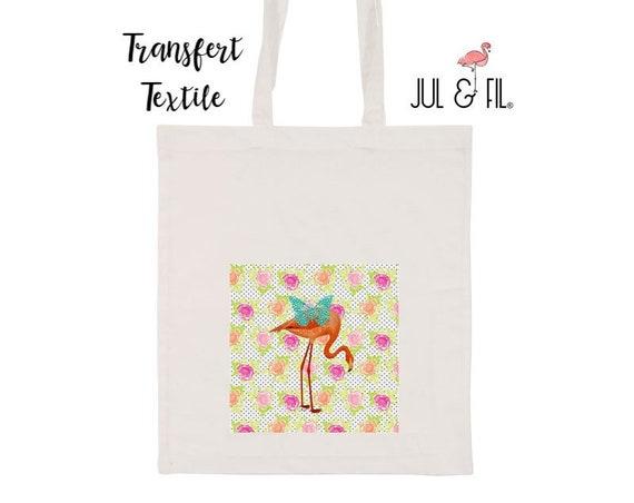 Textile transfer to iron Flamingo orange turquoise butterfly, flowers