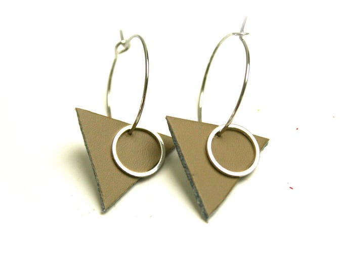 Earrings leather taupe geometric triangles ring