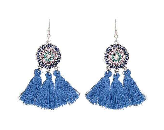 Bohemian tassels blue enamel