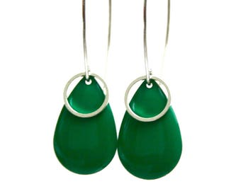 Enamelled sequin earrings drop rings connectors large hooks design emerald green