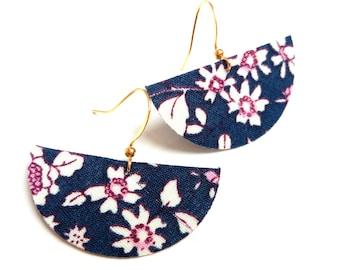 Earrings fabric liberty flowers half moons