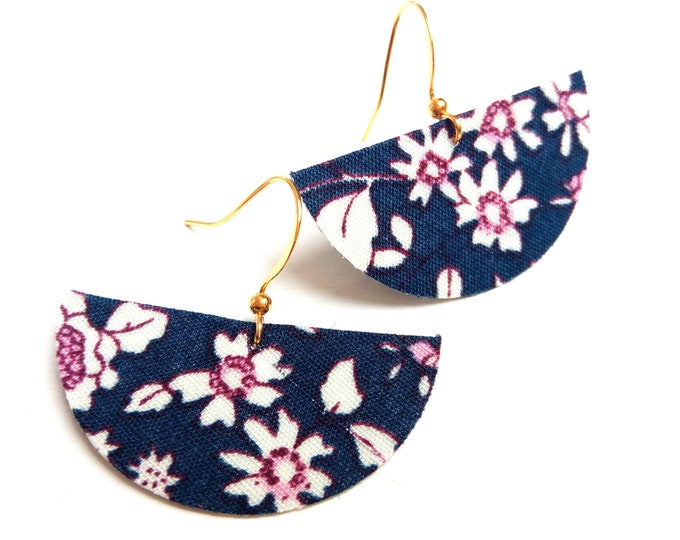 Earrings fabric liberty flowers half moons