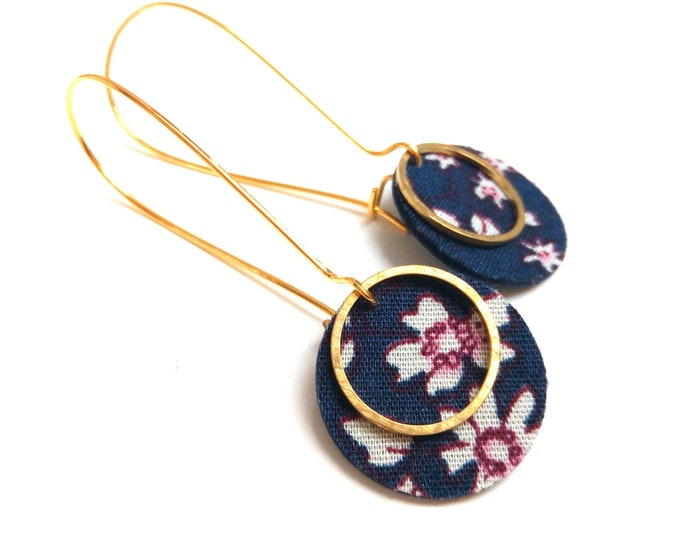 Earrings leather and fabric flowers liberty ring