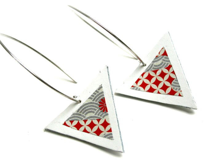 White Leather earrings triangle geometric pattern washi Japanese paper large hooks brass design